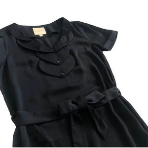 MODCLOTH Black Layered Detail Front Tie Blouse S